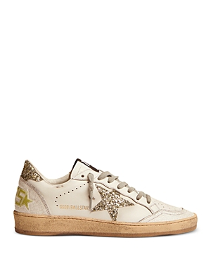 Golden Goose Women's Ball Star Silver Glitter Detail Low Top Sneakers