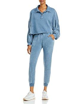 Vintage Havana - Cropped Henley Sweatshirt & Jogger Pants