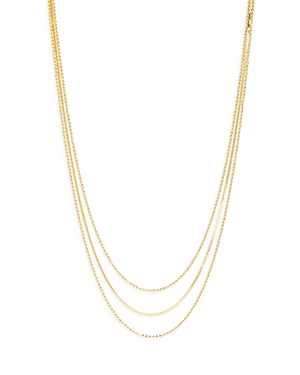 Ball & Herringbone Chain Layered Necklace in 14K Gold Plated Sterling Silver