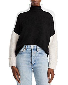 AQUA - Colorblock Mock Neck Sweater - 100% Exclusive