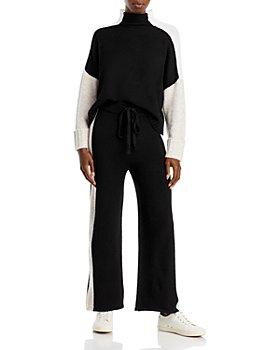 AQUA - AQUA Colorblock Mock Neck Sweater & Racing Stripe Knit Pants - 100% Exclusive