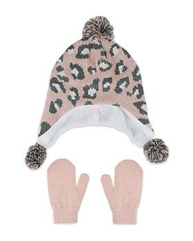Capelli - Girls' 2 Pc. Animal Print Hat & Mittens Two Piece Set - Big Kid