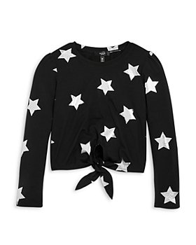 AQUA - Girls' Long Sleeve Metallic Star Tie Front Top, Big Kid - 100% Exclusive