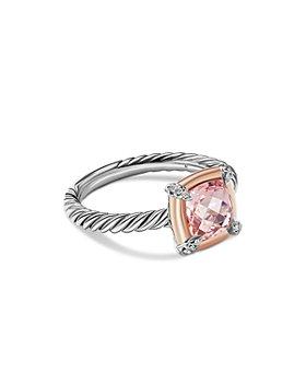 David Yurman - 18K Rose Gold & Sterling Silver Petite Chatelaine® Morganite & Diamond Bezel Ring