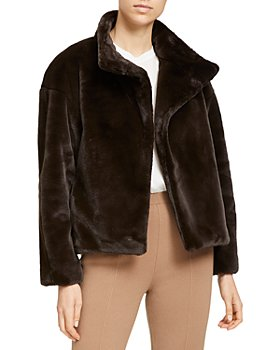Theory - Offset Aspen Cropped Faux Fur Jacket
