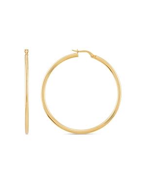 14K Yellow Gold Skinny Hoop Earrings