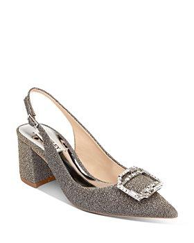 Badgley Mischka - Women's Marlee Pointed Toe Buckle Embellishment Metallic Slingback Pumps