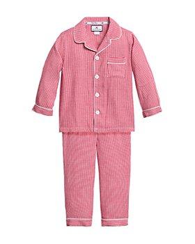 Petite Plume - Unisex Red Mini Gingham Flannel Pajama Set - Baby, Little Kid, Big Kid