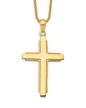 """Bloomingdale's - Men's Edged Cross Pendant Necklace in 14K Yellow Gold, 20"""" - 100% Exclusive"""