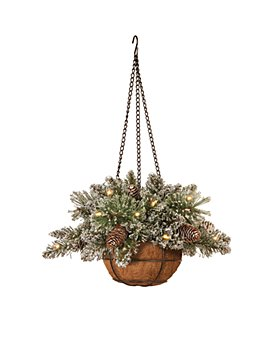 """National Tree Company - 20"""" Glittery Bristle Pine Hanging Basket with Lights"""