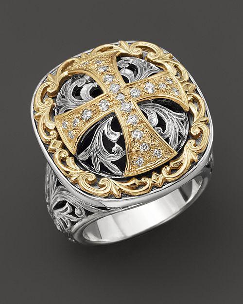 Konstantino - Sterling Silver And 18 K Gold Diamond Maltese Cross Ring