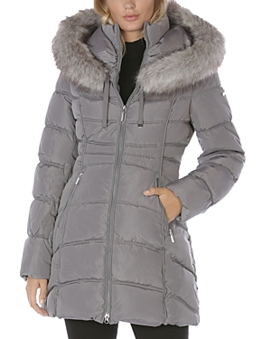 Hooded Faux Fur Trim Puffer Coat
