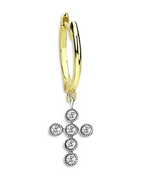 Meira T - 14K Yellow Gold Diamond Cross Charm Hoop Earring