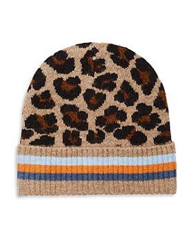 Echo - Happy Cat Leopard Print Knit Beanie