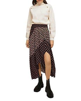 Maje - Notched Monogram Print Midi Skirt