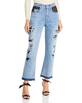 Hellessy - Boylan Distressed Patchwork Straight Leg Jeans in Medium Wash/Black