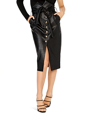 Faux Leather Button Front Midi Skirt