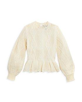 AQUA - Girls' Peplum Cable Sweater, Big Kid - 100% Exclusive