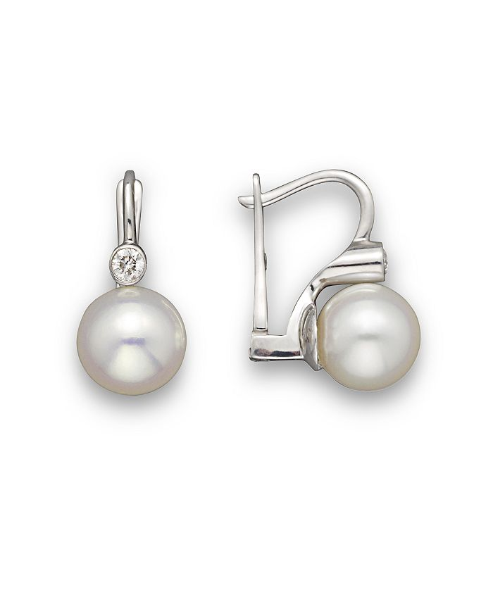 Bloomingdale's - Cultured Akoya Pearl and Diamond Earrings in 14K White Gold, 8mm- 100% Exclusive