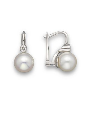 Cultured Akoya Pearl and Diamond Earrings in 14K White Gold, 8mm