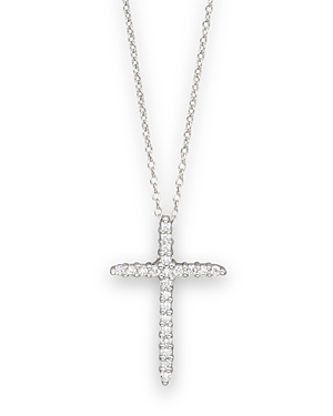 Roberto Coin DIAMOND CROSS NECKLACE SET IN 18K WHITE GOLD, 18
