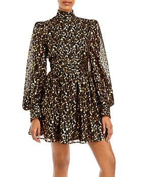 AQUA - Mock Neck Gold Foil Mini Dress - 100% Exclusive