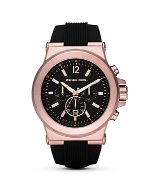 Michael Kors Black & Rose Gold Tone Watch, 45mm