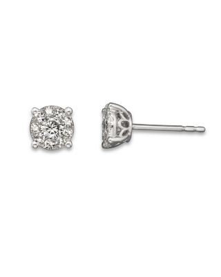 Diamond Cluster Earrings in 14K White Gold, 1.0 ct. t.w. - 100% Exclusive