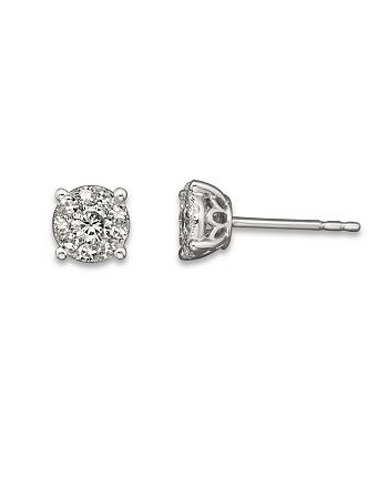 Bloomingdale's - Diamond Cluster Earrings in 14K White Gold, 1.50 ct. t.w. - 100% Exclusive