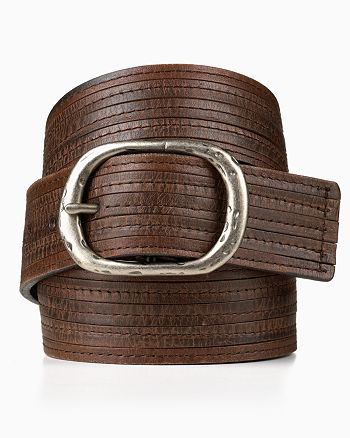 John Varvatos Collection - Strap with Stitched Leather Overlay Belt