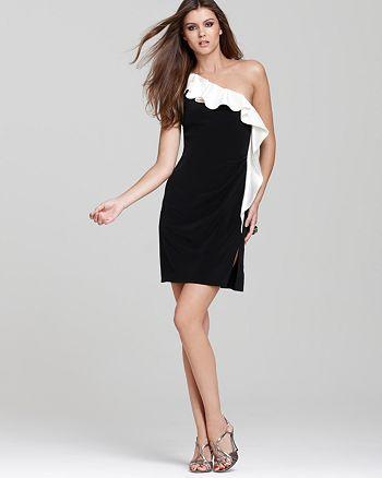ABS by Allen Schwartz - One-Shoulder Dress with Contrast Ruffle