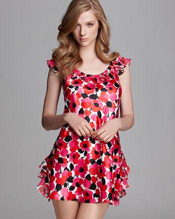Oscar de la Renta Pink Label - Fun and Flirty Printed Charmeuse Sleep Dress