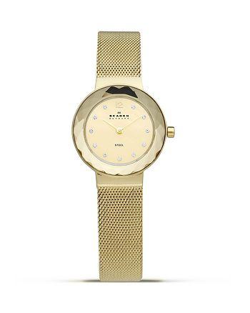 Skagen - Faceted Bezel Gold Steel Watch, 25mm
