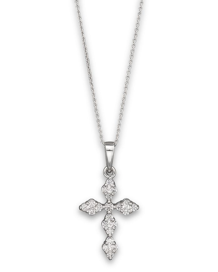 "Bloomingdale's - Diamond Cross Pendant Necklace in 14K White Gold, 0.25 ct. t.w., 17.5"" - 100% Exclusive"