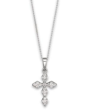 Diamond Cross Pendant Necklace in 14K White Gold, 0.25 ct. t.w, 17.5 - 100% Exclusive