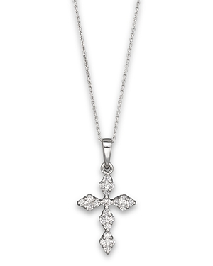 Diamond Cross Pendant Neckace in 14K White Gold, .25 ct. t.w, 17.5 - 100% Exclusive