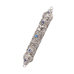 "Olivia Riegel Silver With Aquamarine Crystals Mezuzah, 4"" - Bloomingdale's_0"
