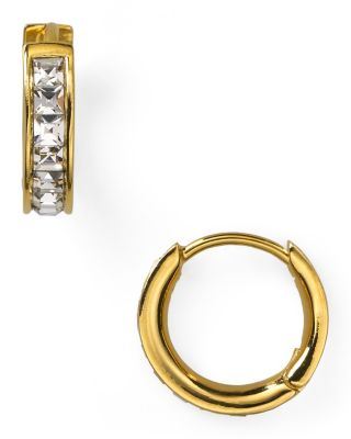 Tiny Channel Set Hoop Earrings, Gold