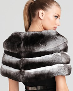 "Maximilian Furs - 10"" Chinchilla Cape with Horizontal Body"