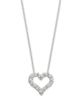 Diamond Heart Pendant Necklace in 14K White Gold 25 ct tw