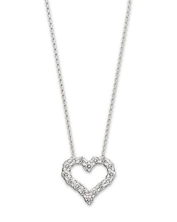 "Bloomingdale's - Diamond Heart Pendant Necklace in 14K White Gold, .25 ct. t.w., 18"" - 100% Exclusive"