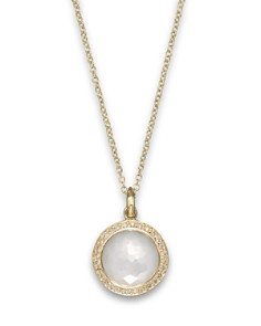 IPPOLITA - Ippolita 18K Yellow Gold Mini Lollipop Pendant Necklace in Mother-Of-Pearl with Diamonds, 16""
