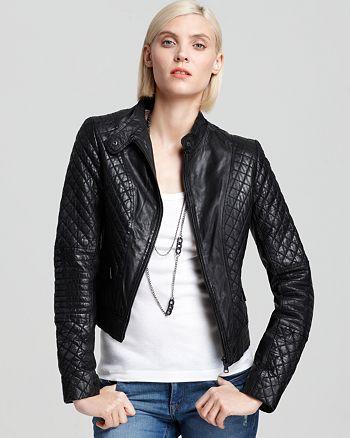 Andrew Marc - Quilted Zip Front Moto Jacket