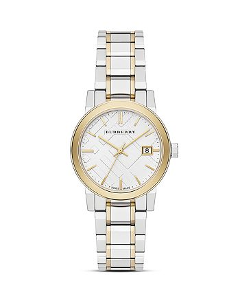 Burberry - Two Tone Gold Check Bracelet Watch, 34mm