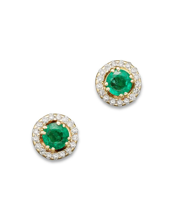 Bloomingdale's - Emerald and Diamond Stud Earrings in 14K Yellow Gold, .13 ct. t.w. - 100% Exclusive