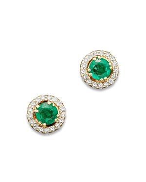 Emerald and Diamond Stud Earrings in 14K Yellow Gold