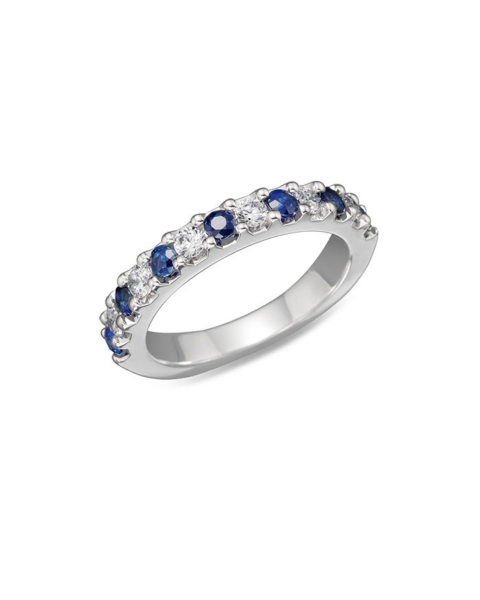 Bloomingdale's - Sapphire and Diamond Band in 14K White Gold- 100% Exclusive
