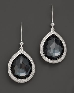 Ippolita Sterling Silver Stella Earrings in Hematite Doublet with Diamonds