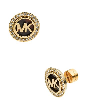 Michael Kors - Monogram Tortoise-Print & Pave Stud Earrings