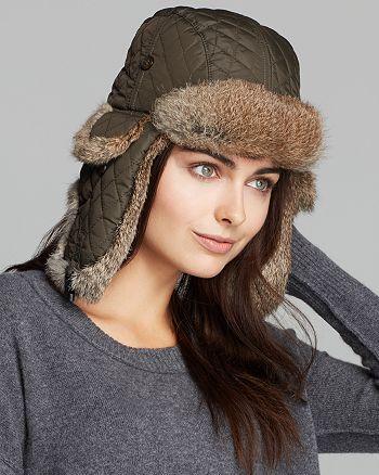 f6f22d62003 Surell - Rabbit Fur Aviator Hat